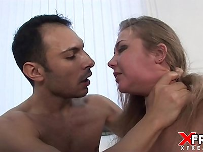 Rough Anal sex for cute russian blond with anal, gapes and facial cumshot